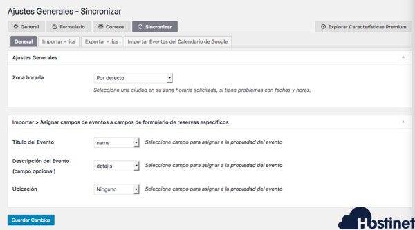 ajustes sincronizar booking calendar WordPress