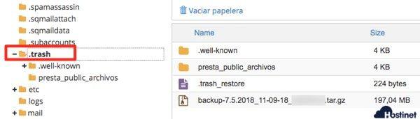 carpeta trash administrador archivos