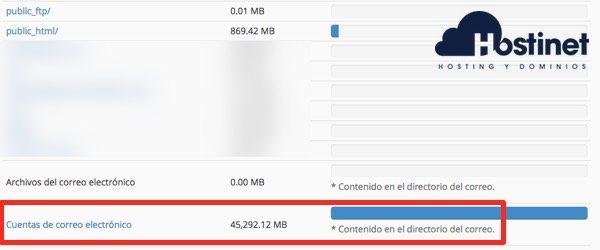 espacio uso disco email cPanel