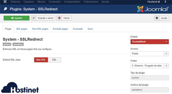 Joomla System SSL Redirect Deshabilitado