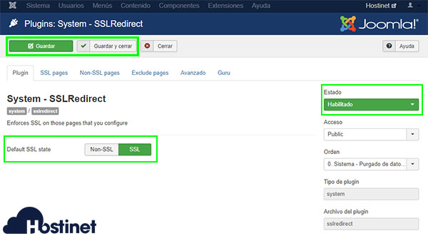 Joomla System SSL Redirect Habilitar