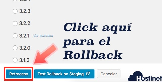 pulsar retroceso rollback plugin WordPress