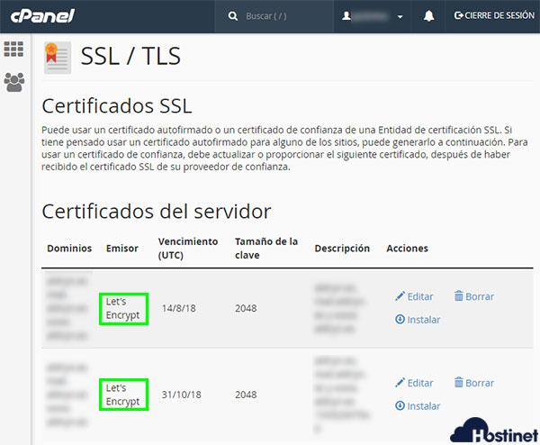 cPanel Certificados CRT Let's Encryp