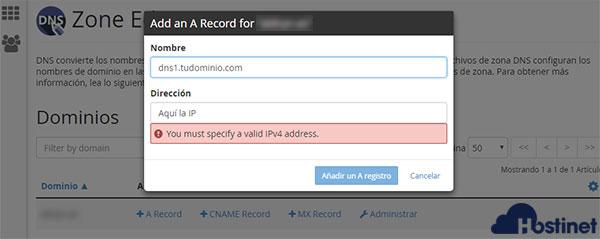 cPanel Zone Editor A Record Nombre Dirección