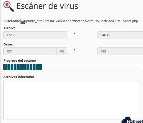 escarner virus cpanel trabajando en Hostinet
