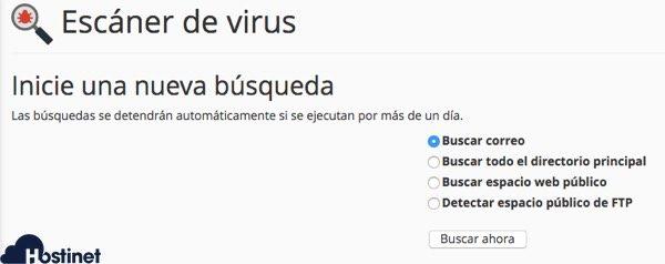 opciones antivirus cpanel en Hostinet
