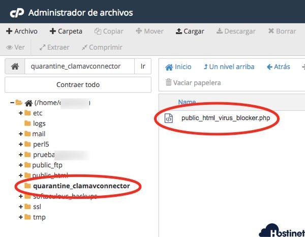 virus trasladado cuarentena administrador de archivos cpanel Hostinet