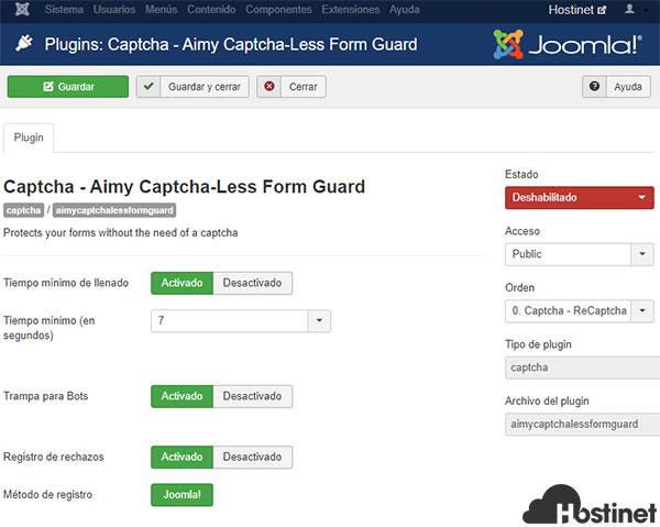 Aimy Captcha - Less Form Guard Activar Configurar Configurar