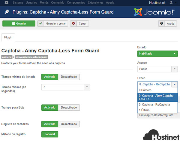Aimy Captcha - Less Form Guard Activar Configurar Configurar 2