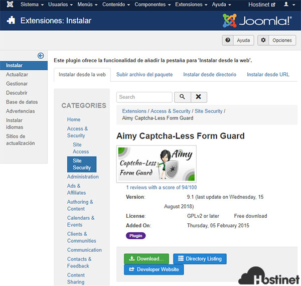 Aimy Captcha - Less Form Guard Instalar desde web NO