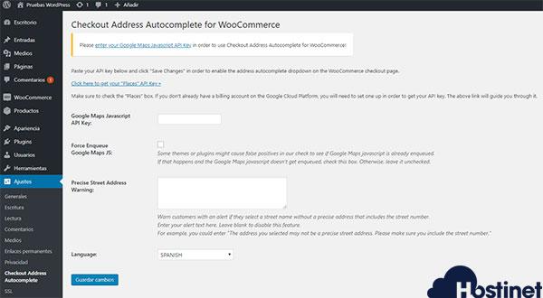 Checkout Address Autocomplete for WooCommerce API Key Google Maps Configuración