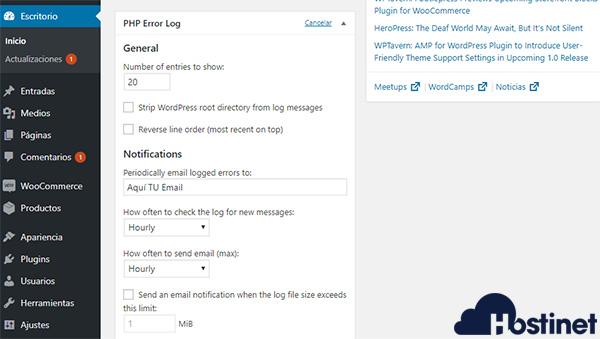 Error log monitor escritorio php error log email
