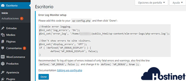 Error log monitor wp-config código