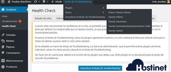 WordPress Escritorio Health Check Troubleshooting Modo