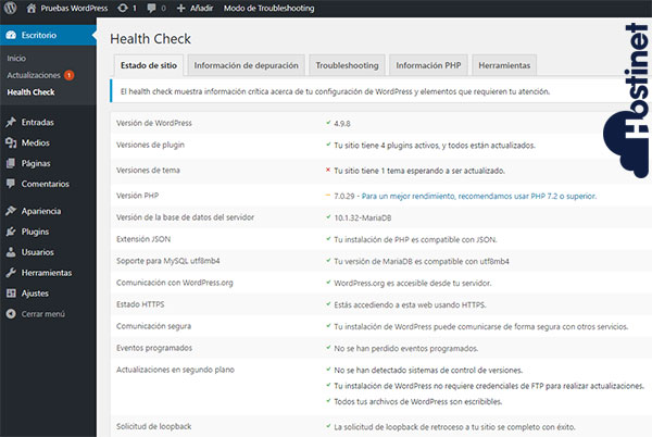 WordPress Escritorio Health Check