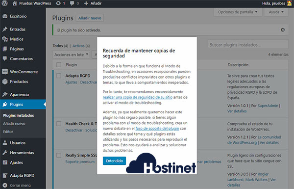 WordPress Escritorio Health Check Troubleshooting Aviso Backup