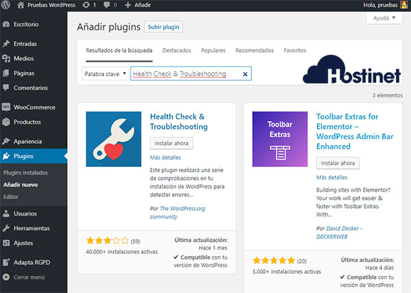WordPress Escritorio Health Check Troubleshooting