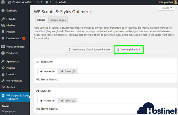 WP Scripts & Styles Optimizer Borrar Cambios