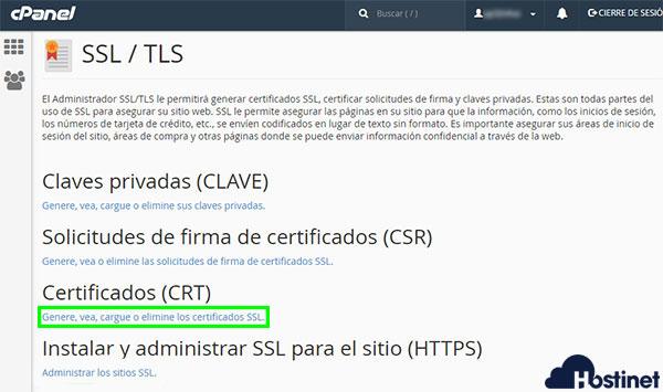 cPanel Seguridad SSL TLS Certificados CRT
