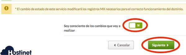 confirmar cambios mx desde Hostinet.com