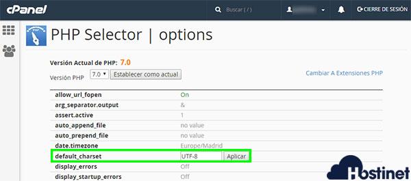 cPanel Selecionar Versión PHP Switch default charset