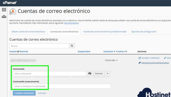 cPanel 74 cuentas correo electrónico password and authentication cambiar contraseña
