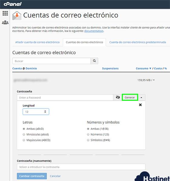 cPanel 74 cuentas correo electrónico password and authentication generar