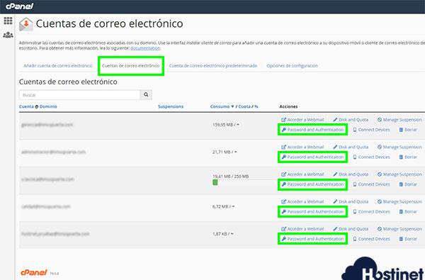 cPanel 74 cuentas correo electrónico password and authentication