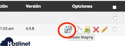 create staging desde softaculous en cPanel