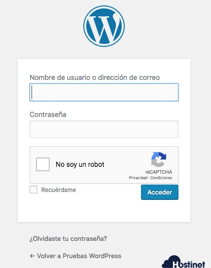login captcha checkbox en WordPress