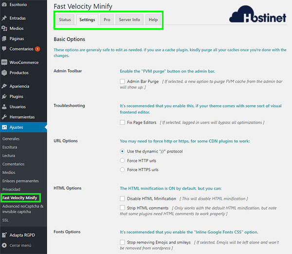 Fast Velocity Minify Settings