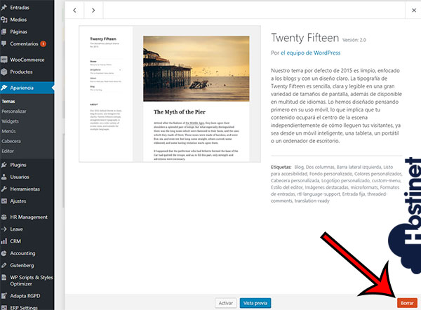 WordPress Temas Borrar