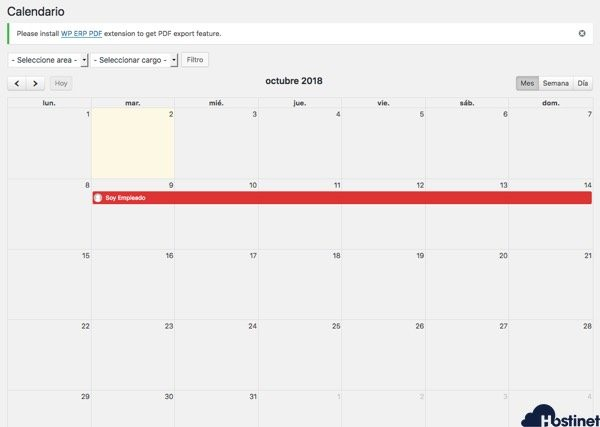 calendario vacaciones global WordPress