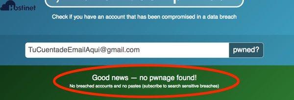 cuenta email sin pwned - está a salvo
