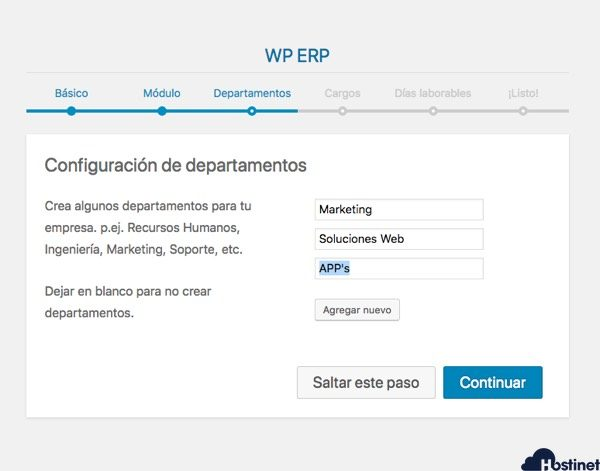 departamentos wp erp en WordPress