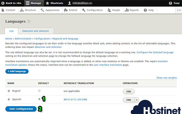 drupal 8 add language spanish aplicar