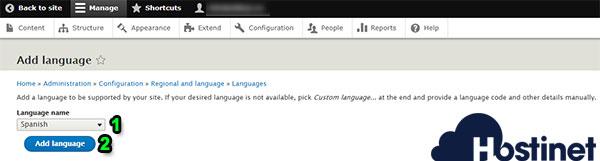 drupal 8 add language spanish