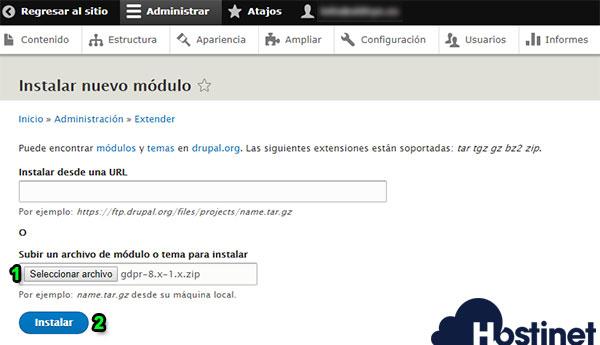 drupal 8 instalar nuevo módulo seleccionar archivo instalar