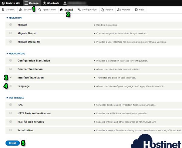 drupal 8 manage extend interface translations language install