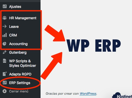 menus wp erp en WordPress