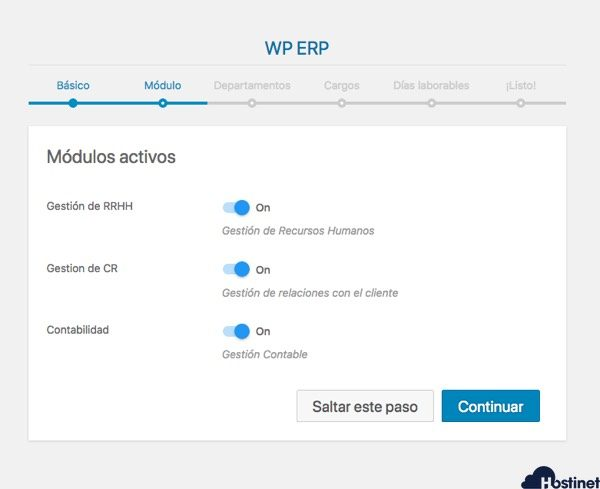 modulos activos wp erp en WordPress