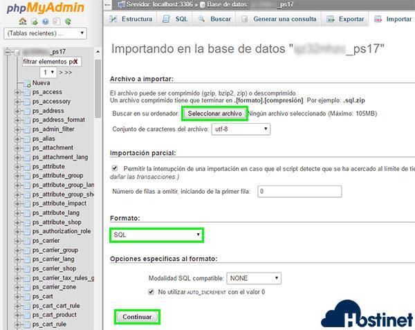 phpmyadmin bd importar opciones