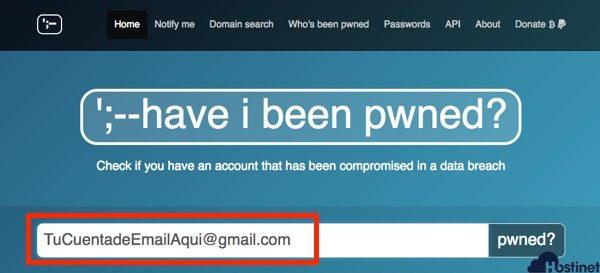 probar email pwned para saber si está comprometido