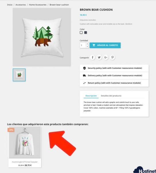 venta cruzadas otros clientes compraron en PrestaShop