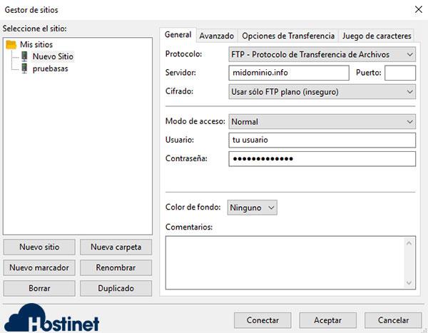 FileZilla Configuración