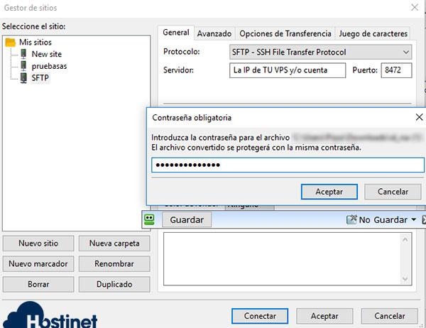 FileZilla SFTP RSA Contraseña
