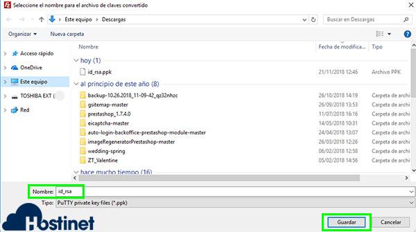 FileZilla SFTP RSA Convertir .ppk