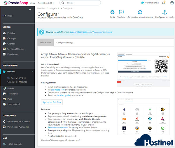 PS17 Módulo Bitcoin CoinGate Configurar Información