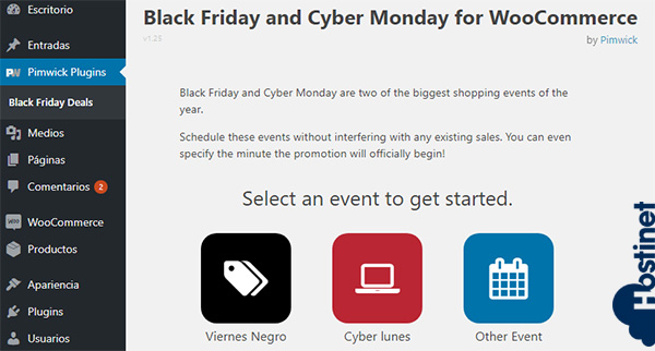 Plugin Black Friday and Cyber Monday Deals para WooCommerce - Events