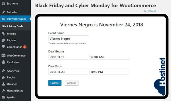 Plugin Black Friday and Cyber Monday Deals para WooCommerce - Fecha